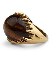 Kasun Eye Of Poseidon Ring Gold & Tigers Eye - Metallic