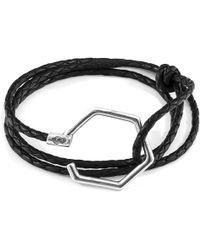 Anchor & Crew - Coal Black Storey Silver & Braided Leather Bracelet - Lyst