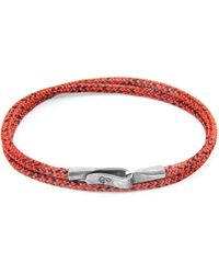 Anchor & Crew - Red Noir Liverpool Silver & Rope Bracelet - Lyst