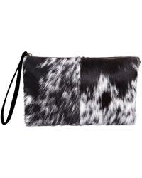 MAHI - Classic Clutch Bag In Black And White Pony Fur - Lyst