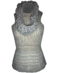 Claire Andrew - Grey Knit Vest With Draped Neck - Lyst