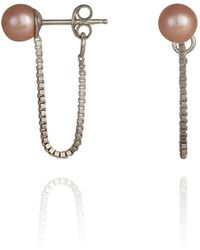 Cara Tonkin - Orbit Chain Loop Earrings Silver - Lyst