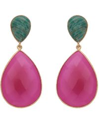 Carousel Jewels - Double Drop Amazonite & Fuchsia Chalcedony Earrings - Lyst