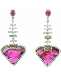 Ri Noor - Diamond & Tourmaline Earrings - Lyst