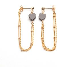 Alice Eden - Gold Love Heart Loop Chain Earrings - Lyst