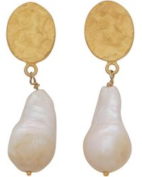 Carousel Jewels - Hammered Gold Nugget & Pearl Earrings - Lyst