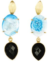 Magpie Rose - Banded Blue Agate & Black Onyx Cocktail Earrings - Lyst