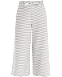 Paisie - Horizontal Striped Wide Leg Culottes With Tie Belt - Lyst