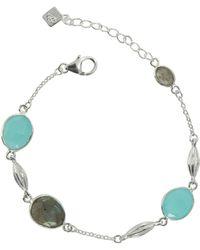Juvi Designs - Silver Cocoa Pod Cozumel Bracelet Aqua Chalcedony & Labradorite - Lyst