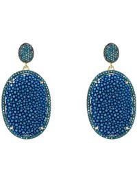 LÁTELITA London - Stingray Pave Oval Earring Royal Blue - Lyst