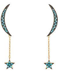 LÁTELITA London - Moon & Star Earring Gold Turquoise - Lyst