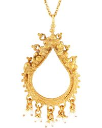 Annabelle Lucilla Jewellery - Sikhara Charm Pearl Pendant Gold - Lyst