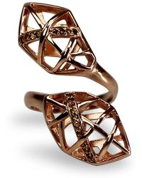 Bellus Domina - Citrine & Rose Gold Geometric Ring - Lyst