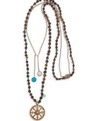 Platadepalo - Bronze & Resin Necklace Zircon Stones - Lyst