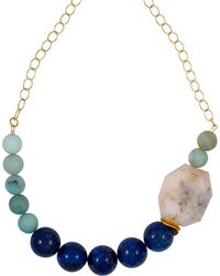 Magpie Rose Lapis Lazuli & Peruvian Pink Opal Necklace - Blue