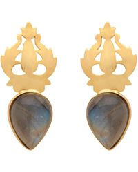 Carousel Jewels - Handcarved Gold & Labradorite Earrings - Lyst