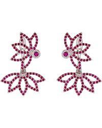 Joana Salazar - Lotus Flower Rubies Sparkling Earjackets - Lyst