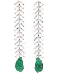 Ri Noor - Baguette Diamond & Carved Emerald Earrings - Lyst