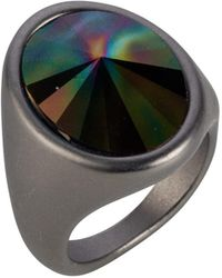Nadia Minkoff - Oval Ring Matt Gunmetal & Rainbow Dark - Lyst