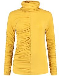 blonde gone rogue - Gathered Turtleneck Blouse In Yellow - Lyst