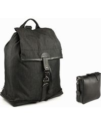 Charlie Baker London - New York Fold Up Leather Based Backpack With Charcoal Denim - Lyst