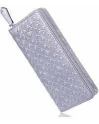 Drew Lennox - Luxury English Leather Ladies 12 Card Zip Around Purse & Wallet In Silver - Lyst