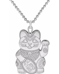 CarterGore - Silver Lucky Cat Pendant Necklace Large - Lyst