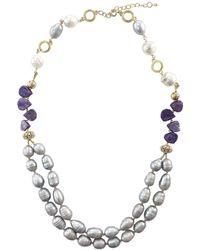 Farra - Freshwater Pearls & Natural Charoite Double Strands Necklace - Lyst