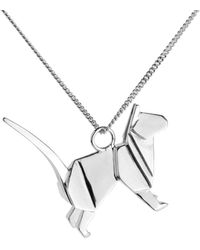 Origami Jewellery Cat Necklace Silver