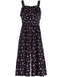 Paisie - Floral Print Playsuit With Top Ruffles & Gathered Waist - Lyst