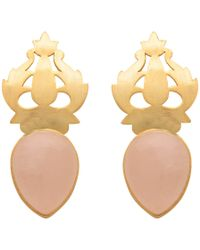 Carousel Jewels - Handcarved Gold & Rose Quartz Earrings - Lyst