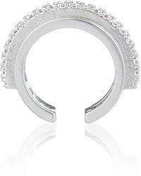 Astrid & Miyu - Fitzgerald Circle Ear Cuff In Silver - Lyst