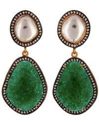 Carousel Jewels - Crystal Quartz & Green Aventurine Drop Earrings - Lyst