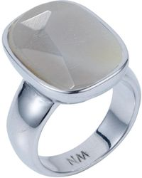 Nadia Minkoff - Semi Precious Vertical Ring Silver With Agate - Lyst