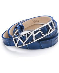 Ona Chan Jewelry - Leather Lattice Bracelet Small Blue - Lyst