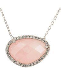 Latelita - Sofia Rose Quartz Gemstone Necklace Silver - Lyst