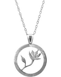 Anchor & Crew - Exotic Flower Disc Paradise Silver Necklace Pendant - Lyst