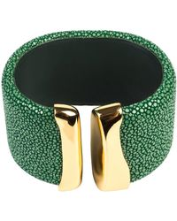LÁTELITA London - Stingray Wave Bangle Gold Jade Green - Lyst