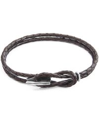 Anchor & Crew - Dark Brown Padstow Silver & Leather Bracelet - Lyst