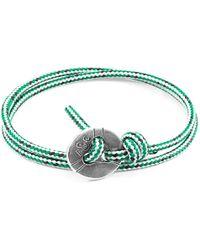 Anchor & Crew - Green Dash Lerwick Silver & Rope Bracelet - Lyst