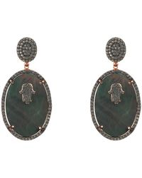 LÁTELITA London - Hamsa Grey Mother Of Pearl Oval Earring - Lyst