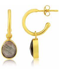 Auree - Manhattan Gold & Labradorite Interchangeable Gemstone Earrings - Lyst