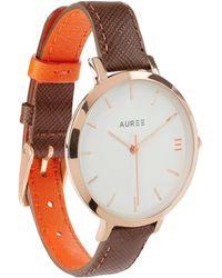 Auree Jewellery | Montmartre Rose Gold Watch With Chestnut Brown & Orange Strap | Lyst