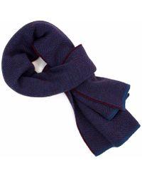 40 Colori | Burgundy Jeans Blue Reversible Herringbone Cashwool Scarf | Lyst