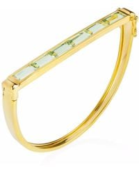 Neola - Equilibrium Gold Bangle With Green Amethyst - Lyst
