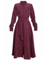 UNDRESS - Purple Circle Skirt Midi Shirt Dress - Lyst