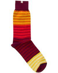 40 Colori - Red Gradient Striped Organic Cotton Socks - Lyst