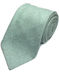 Louise & Zaid - Mint Green Slub Silk Tie - Lyst