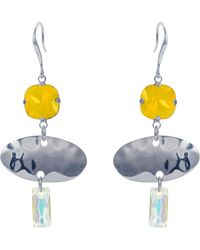 Nadia Minkoff - Oval Textured Earring Yellow Silver - Lyst