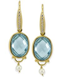 Vintouch Italy - Positano Blue Topaz Drop Earrings - Lyst